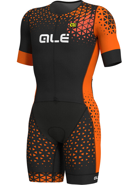 Alé Cycling Rush Tri SS Unitard Long Men black-flou orange